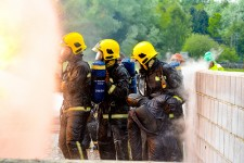 The manikin comes supplied with a nomex hood which we recommend for use in hot fire training scenarios. Photo courtesy of the Fire Training College