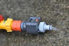 Water drains away via valves or hose