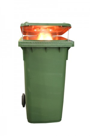 FireWare Simulated Burning Wheelie Bin